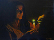 Acrylic Painting - The Girl with a Candle