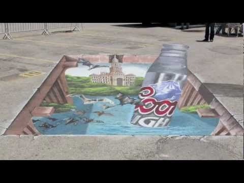 3D Chalk Artists bring Beer Bottle to Life
