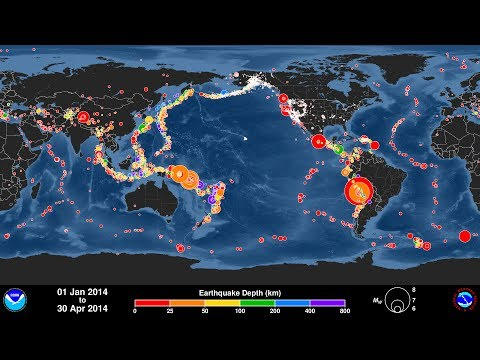 Global Earthquake Animation: January - April 2014