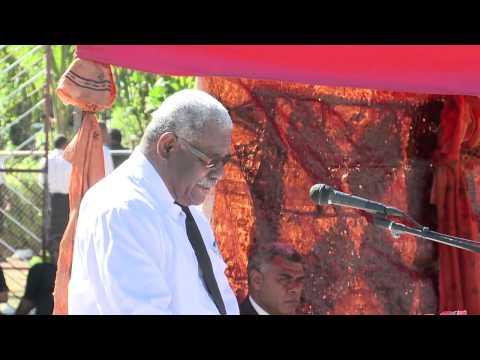 Fiji Prime Minister Voreqe Bainimarama Attend The Late Tui Ba's Funeral. August 15th, 2013.