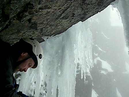 Respite under a chock stone - Gardyloo Gully - North Face-Ben Nevis