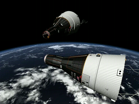 Gemini 6 and 7 rendezvous in orbit