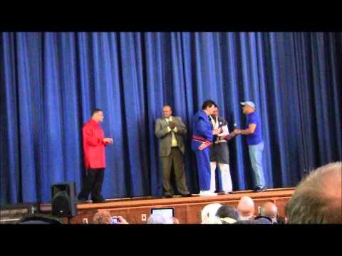 Gm.Dan McEaddy Present Diploma of rank to Prof. Irving Soto 10th dan in jujitsu & ninjitsu 5-19-2012