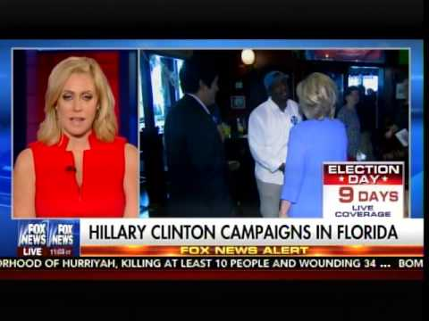 After Rough Week -- Hillary Clinton Campaigns at Miami Bar, Mid Morning, On Sunday...