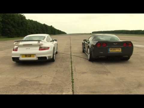 Which is faster in a one-mile drag race? Porsche 911 GT2 or Corvette ZR1?