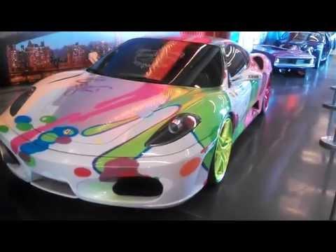 Lamborghini and Ferrari art cars at the 2015 New York International Auto Show