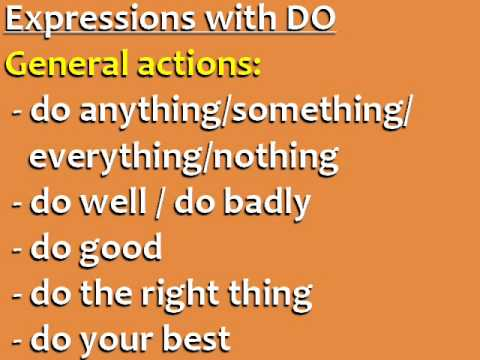 Difference between DO and MAKE + Common English Expressions