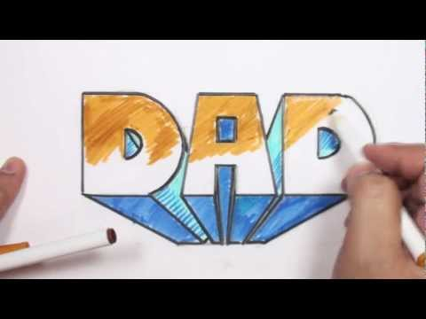 Art 1 Intro - How to Draw 3D Block Letters - DAD in One-Point Perspective