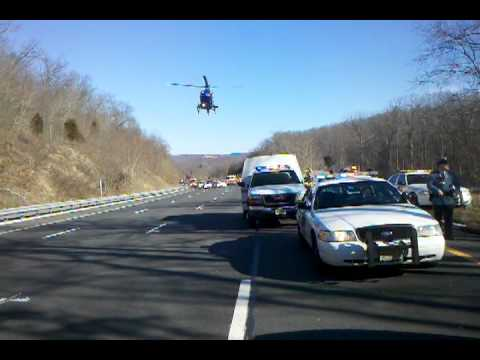 Allamuchy Fire medivac landing on RT80