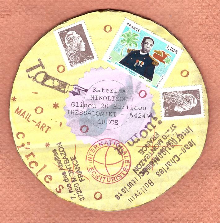 "sent to Katerina Nikoltsou, ""circles"", verso"