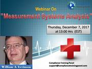 "Webinar On ""Measurement Systems Analysis"""