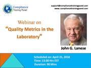 "Webinar On ""Quality Metrics in the Laboratory"""