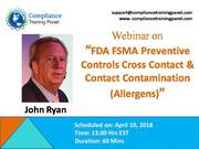 "webinar On ""FDA FSMA Preventive Controls Cross Contact & Contact Contamination (Allergens)"""