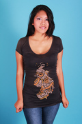 T-shirt-for-Women-in-Peruvian-Pima-cotton,-Youth-style.