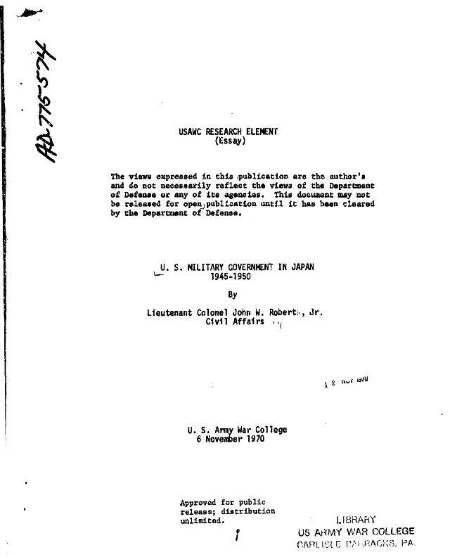 USMG in Japan, 1945-1950, P.2