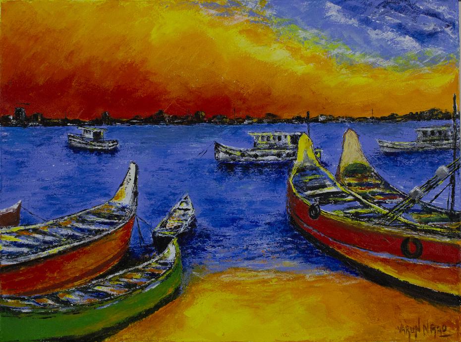 Palette Knife Acrylic Painting - Bengare Island, Mangalore