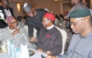 Chief Emeka Anyaoku, Aremo Osoba, Kayode Fayemi, Mimiko at  Dinner Reception honour Prof. Jide Osuntokun in Lagos- 3