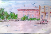 """Central Square"" collage of the city Kremenchug, Ukraine, 2012"