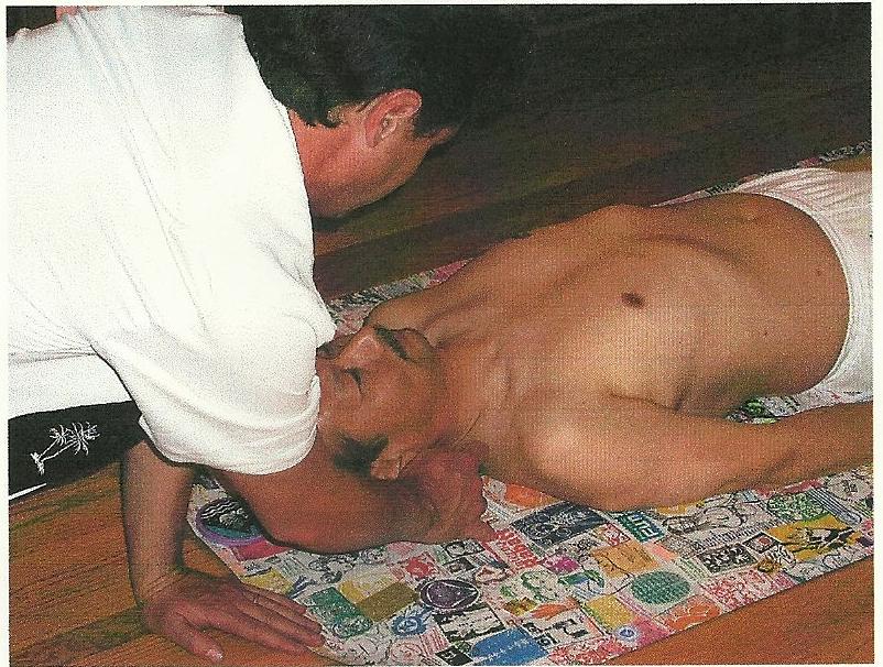 Ryosuke having his outline traced