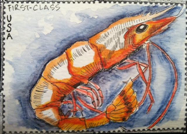 Shrimp Postage Stamp ATC