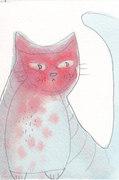 pink cat watercolor and pencil postcard