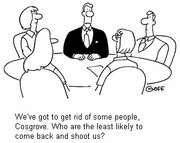 Funny Sales Meeting Cartoon - Downsizing / reorg