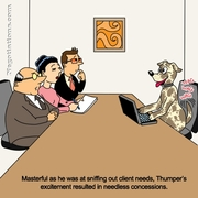 Funny Sales Cartoon - dog on sales call