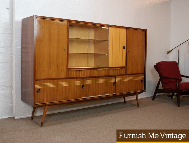 Stunning Large 1950s Vintage Atomic Age Wall Unit Credenza