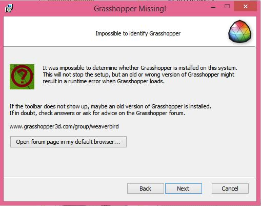 Weaverbird isn't installing for me - Grasshopper