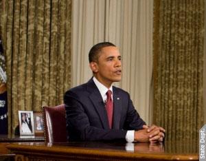 歐巴馬總統在白宮橢圓形辦公室發表全國談話,宣佈駐伊拉克美軍的作戰任務正式結束,將把在伊拉克的重心轉向民事領域,與伊拉克建立夥伴關係。 (Photo: Whitehouse.gov)