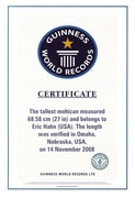 Guinness Certificate for World's Tallest Mohican