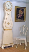 1800s gold and white Antique swedish mora clock and chair