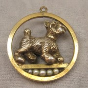 Gold Filled & Sterling 1940's Jumbo Charm Schnauzer