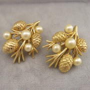 Crown Trifari Pine Cone Earrings