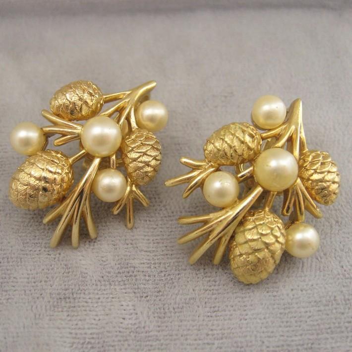 Crown Trifari Pine Cone Earrings