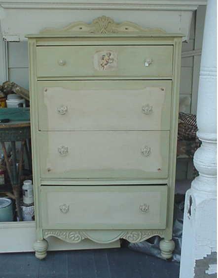 hand painted dresser green