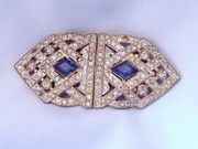 Vintage Art Deco Rhinestone Duette Brooch & Dress Clips