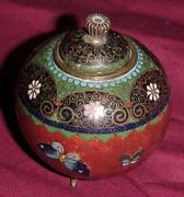 Footed Lidded Mini Cloisonne Pot