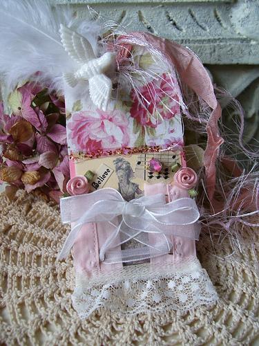 SHABBY PINK CORSET MARIE ANTOINETTE ART TAG