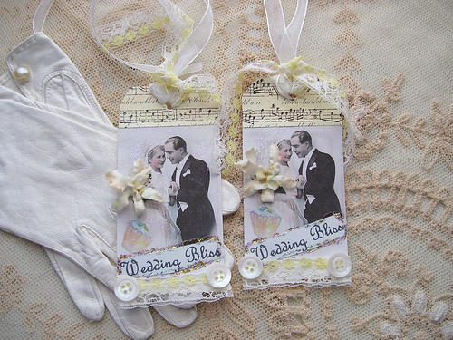 Wedding Bliss Vintage Collage Tags
