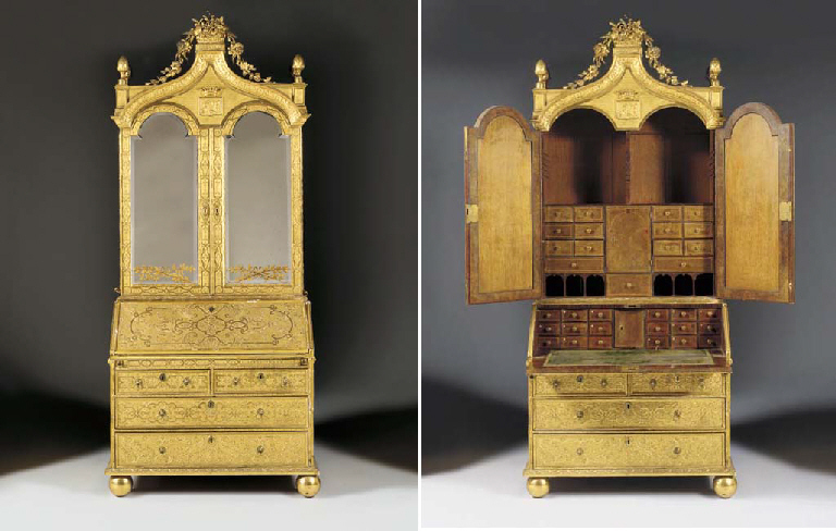 GI Gilt Gesso Bureau Cabinet Attributed to the Master of the Royal Portuguese Cabinets