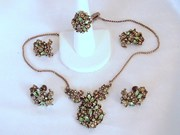 Vintage Green Rhinestone Hollycraft Full Parure/ Set - Bridal, Formal, Wedding