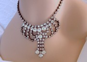 Vintage Rhinestone Choker/ Necklace - Bridal - Wedding - Prom - Formal