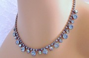 Vintage Blue AB Rhinestone Choker/ Necklace - Bridal, formal