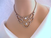 Vintage Waterfall Rhinestone Choker/Necklace - Wedding, Bridal, Formal