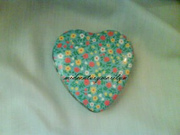 Heart Shaped Tin Pretty Blue with Flowered Top Made in England Excellent Condition