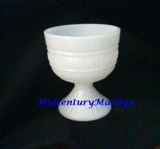 Milk Glass Compote Dish or Vase  Footed Base Rare Design