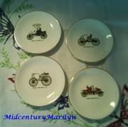 "Harkerware Decorative Plates Antique Car Motif Set of Four 4 1/2"" Wall Hangings"