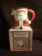 Brand New Collectible World Bazaar Holiday Collection Ceramic Santa Pitcher