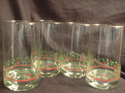 Set of 4 Vintage Collectible Arby's 1984 Christmas Collection Glasses Holly & Berries Pattern